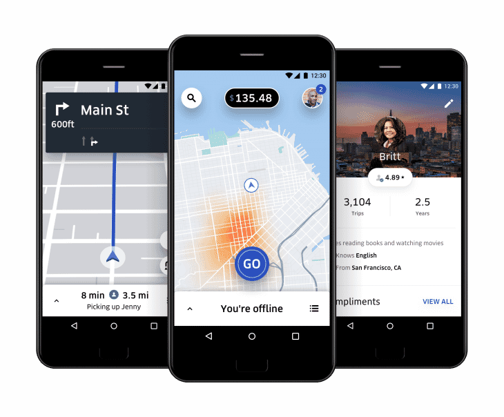 Picture showing Uber navigation, pricing algorithm and reviews